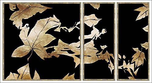 Gold Tropical Leaf on Black I
