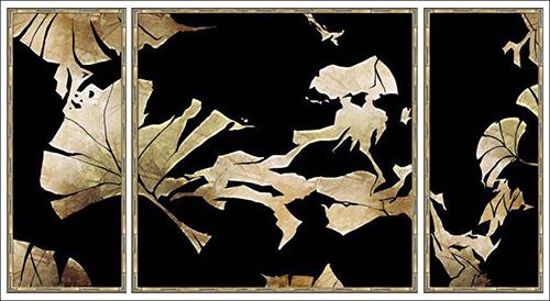 Gold Tropical Leaf on Black III