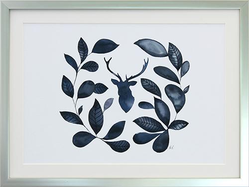 Ink blue leaf wreath II