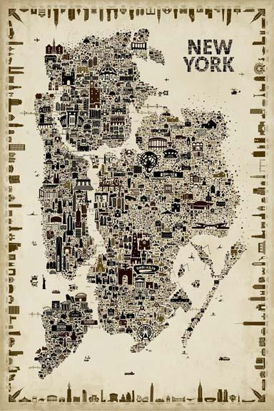 Antique Iconic Cities-New York