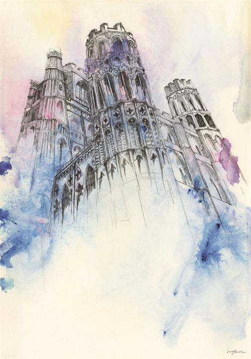 Watercolor Architecture V