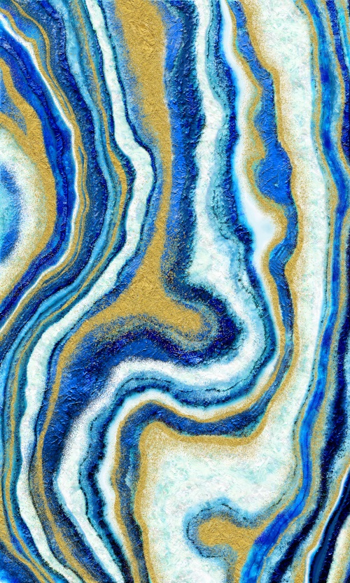 Abstract Blue Gold Art I