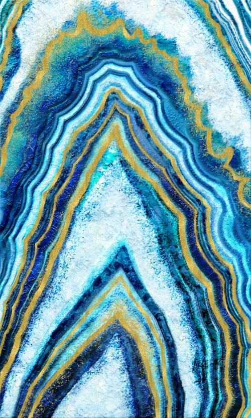 Abstract Blue Gold Art II