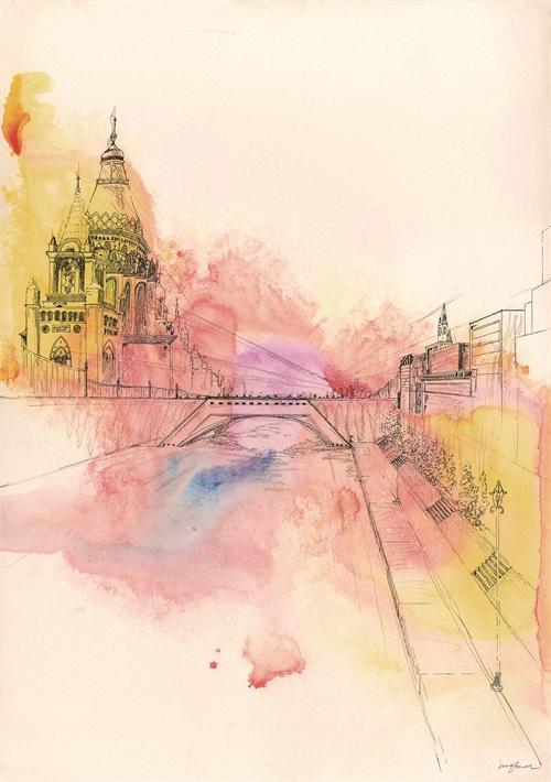 Watercolor architecture IV