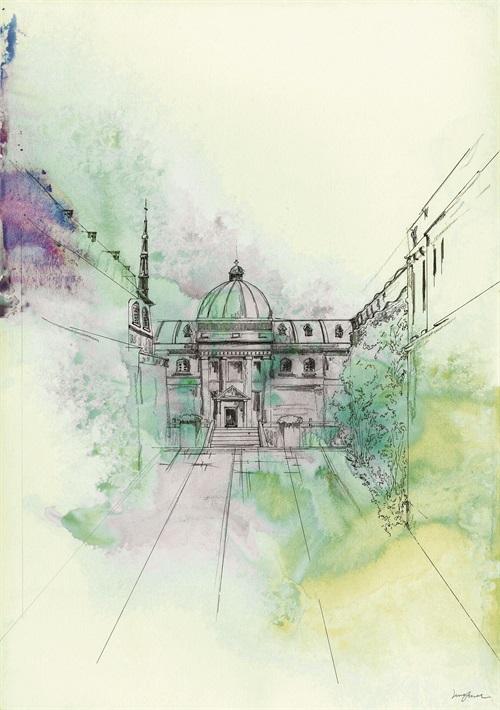 Watercolor Architecture VI