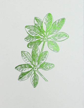 Green Foil Leaf Collection III