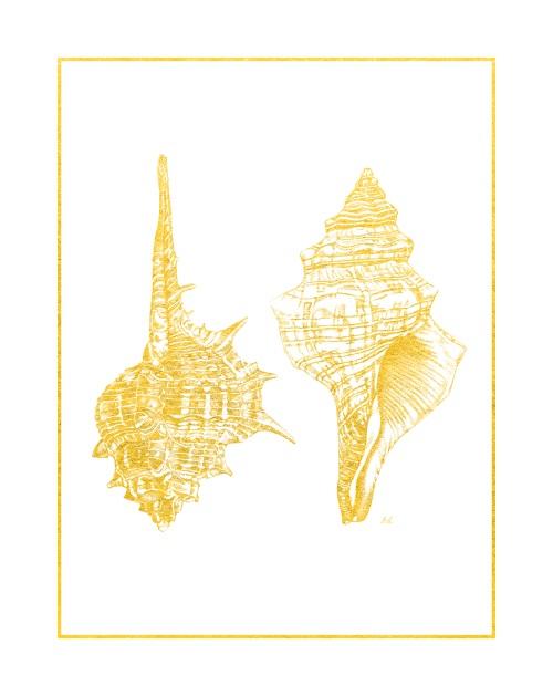 Gold Foil Marine Life I