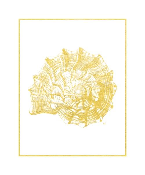 Gold Foil Marine Life IV