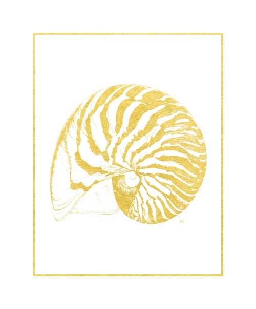 Gold Foil Marine Life V