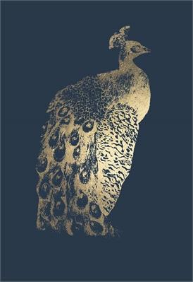 Gold Foil Peacock I On Cobalt