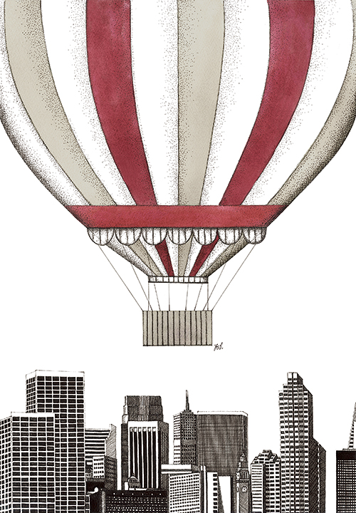 Hot Air Balloons And  Building  I