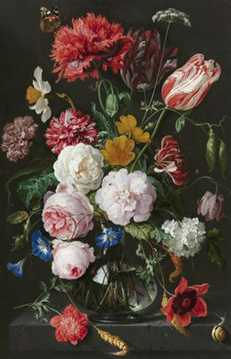 Abraham Mignon, Still Life with Flowers in a Glass Vase