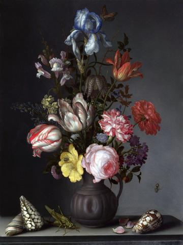 Balthasar van der Ast, Flowers in a Vase with Shells and Insects