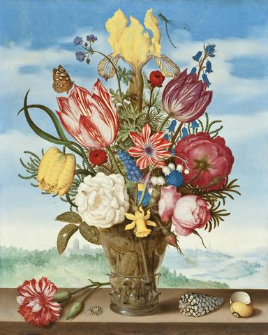 Ambrosius Bosschaert, Bouquet of Flowers on a Ledge