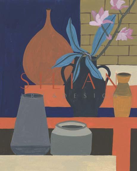 Vases on a Shelf I