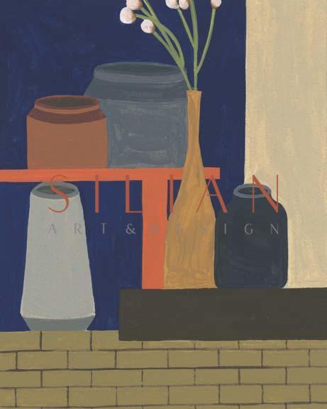 Vases on a Shelf II