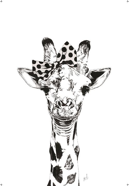 A Giraffe Wearing A Bowknot